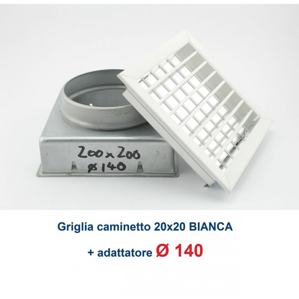 Griglia Bocchetta 16x16cm BIANCA Diam.80mm con Adattatore per Camino